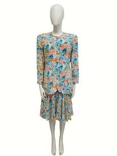 """""""BALENCIAGA"""" Suit with skirt, in floral pattern Size S"""