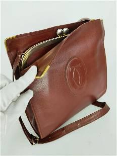 """""""CARTIER"""" Shoulder bag in burgundy leather"""