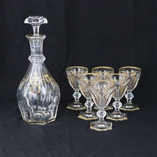 Baccarat - Crystal bottle with 6 crystal goblets