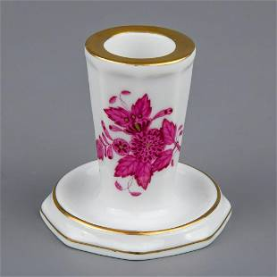 Herend Chinese Bouquet Raspberry Candlestick #7931/AP