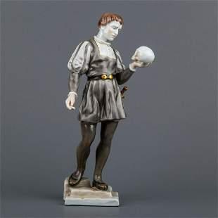 Herend Hamlet of Shakespeare with Skull Figurine #5874