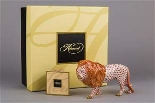 Brand New Herend Red Fishnet Standing Lion Figurine