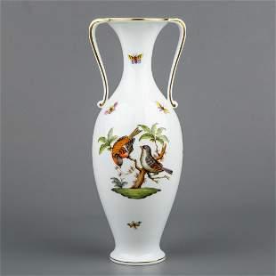 Herend Rothschild Bird Large Vase with Handles #7176/RO