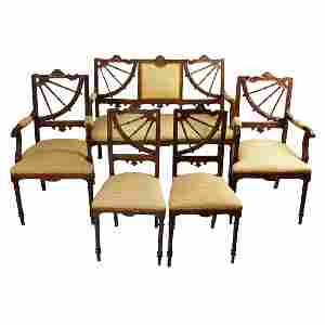 19th century set of sofa with two armchairs and two