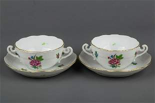 Pair of Herend ETON Cream Soup Bowls with Saucers