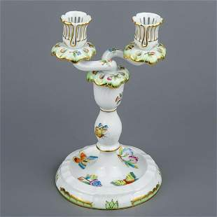 Herend Queen Victoria Two Light Candle Holder #7915/VBO