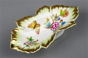 Herend Queen Victoria Leaf Shaped Nut Dish #7724/VBO