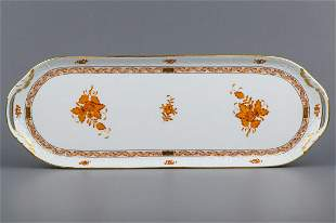 Herend Chinese Bouquet Rust Orange Serving Tray #435/AM