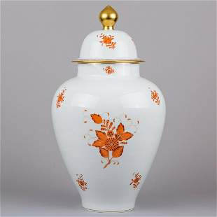 """Herend Chinese Bouquet Rust Orange 23"""" Very Large Vase"""