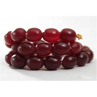 68 g Natural Baltic amber necklace cherry olives red