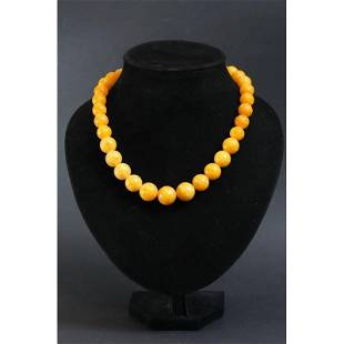 69g Natural pressed Baltic amber necklace yellow color