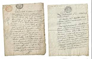 1804 Two French Manuscript Legal Documents