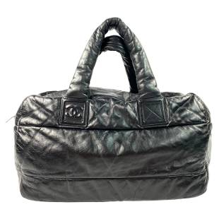 Chanel Coco Cocoon Bowling Black and Red Nylon Quilted