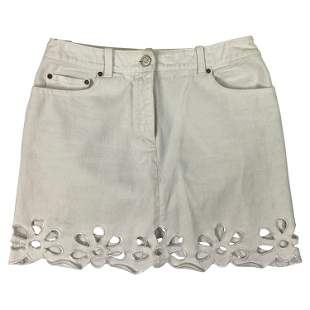 Celine White Denim Mini Skirt, Size 40