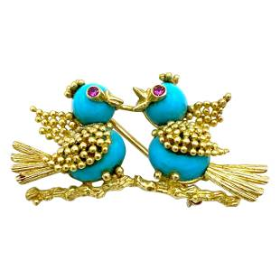 Vintage Yellow Gold Turquoise and Ruby Love Birds