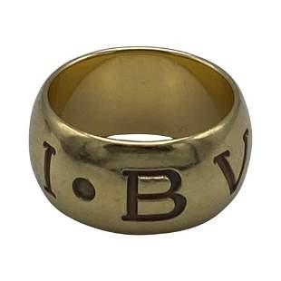 Vintage Bulgari Yellow Gold Logo Band Ring, Size 55