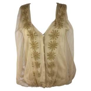 3.1 Phillip Lim Beige Knit and Tulle Vest Blouse Top,