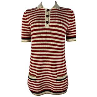 Gucci Red and White Wool Knit Sweater Top