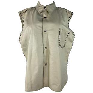 Dolce and Gabbana Cream Leather Button Down Vest, With