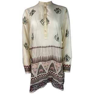 Christian Dior Cream Cotton Long Sleeve Tunic Top Size