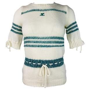 COURREGES PARIS TOILLE A FRANCE White Knit Top Sweater