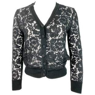 Valentino Black Lace Cardigan Top