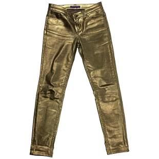 Ralph Lauren Gold Metallic Cotton Jeans Pants Size 28
