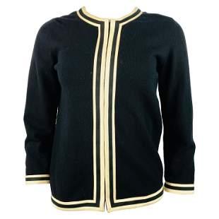 Vintage Belrnciaga Paris Black Wool Cardigan Sweater