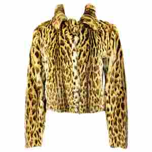 Marni Brown and Black Leopard Animal Fur Jacket Size 42