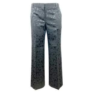 CELINE Black w/ Floral Print Straight Trousers Pants