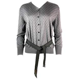 LOUIS VUITTON Black and Grey Polka Dot Cashmere Sweater