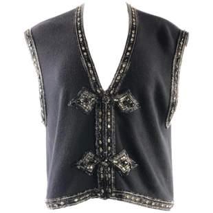Vintage VALENTINO Night Black Knit Vest w/ Rhinestone