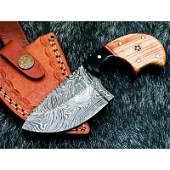 Handmade hiking everyday carry damascus steel knife