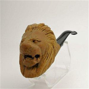 Lion Head Big Bowl,Hand carved Meerschaum Pipe.