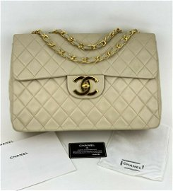 CHANEL Classic Flap XL Maxi Jumbo Quilted Light Beige