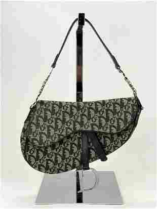 Christian Dior Oblique Saddle Hand Bag Purse Black