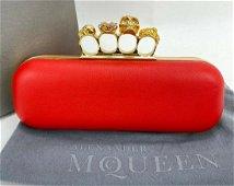 Alexander McQueen Skull 4 Rings Knuckle Clutch Red