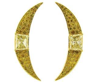 Vintage Yellow Diamond Gold Creschent EARRINGS 1980s