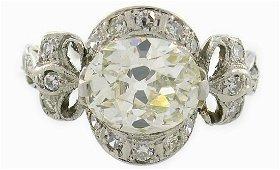 Art Deco Diamond Platinum RING 2.27 cts TW