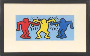"""Keith Haring - Buddies - 1998 Offset Lithograph 9"""" x"""