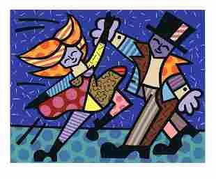 """Romero Britto - Dancing Couple - 1999 Serigraph 35.25"""""""