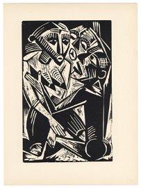 "Max Pechstein original woodcut ""Woman Desired by Man"""