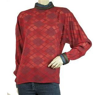 Gianni Versace Vintage Silk Blouse Argyle Pattern Red