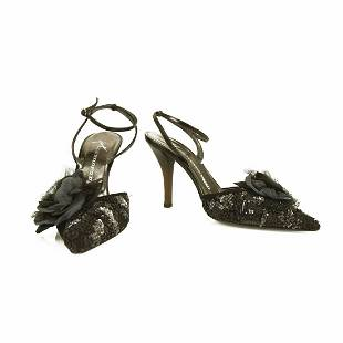 Giuseppe Zanotti Black Suede Sequined Pointed Toe Pumps