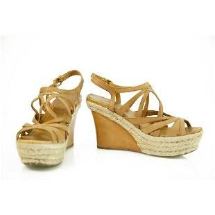 Miu Miu Tan Leather Jute Wedge Heel Sandal Platform