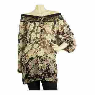Blumarine Romantic Floral Print Sheer Tunic Blouse off