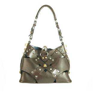 Prada Brown Cut Out Leather Studded Top Handle Shoulder