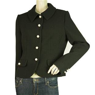 Moschino Boutique Black Virgin Wool Fitted Jacket Pearl