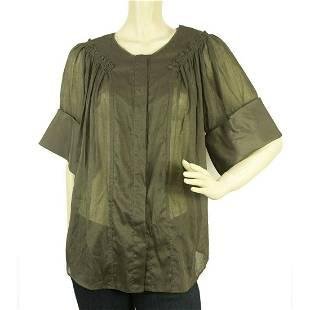 Gianfranco Ferre Gray See-through Silk Cotton Shirt Top