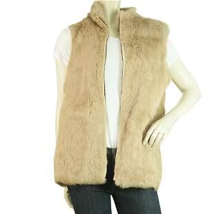 M.K. Emkay Beige Fur Zipper Front Vest Sleeveless